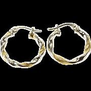 14K Two Tone Textured Twist Hoop Earrings White Gold