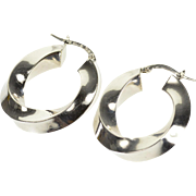 14K Squared Twist Wide Oval Hoop Earrings White Gold  [QPQX]