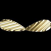 14K Ridged Pleated Tear Drop Post Back Earrings Yellow Gold  [QPQX]