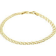 """14K Doubled Fancy Curb Link Chain Bracelet 7.25"""" Yellow Gold"""