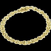 "14K Starburst Textured Heart Link Fancy Chain Bracelet 7.25"" Yellow Gold"