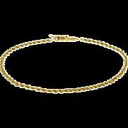 """14K Rope Link Fancy Chain Bracelet 7.25"""" Yellow Gold"""