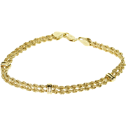 """10K Doubled Rope Link Tiered Chain Bracelet 7.25"""" Yellow Gold"""