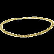 """10K Fancy Rope Link Twist Chain Bracelet 8"""" Yellow Gold"""