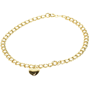 """14K Double Curb Loose Link Chain Heart Charm Bracelet 7.25"""" Yellow Gold"""