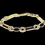 "14K Onyx Inlay Oval Rectangular Link Bracelet 7.25"" Yellow Gold"