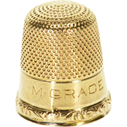 14K Ornate Textured Thimble Sewing  Yellow Gold  [QPQX]