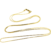 """14K 0.7mm Pressed Squared Link Chain Necklace 21"""" Yellow Gold"""