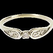 14K Diamond Inset Scroll Filigree Engagement Ring Size 9.5 White Gold