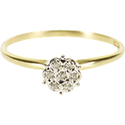 10K Encrusted Diamond Peghead Cluster Engagement Ring Size 7 Yellow Gold