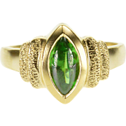 14K Green Tourmaline Marquise Cabochon Textured Ring Size 6 Yellow Gold