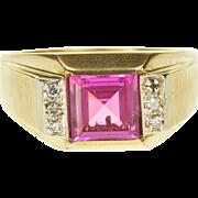 10K Pink Sapphire Diamond Square Brush Finish Men's Ring Size 12 Yellow Gold