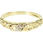 10K Diamond Inset Textured Nugget Abstract Band Ring Size 6.5 Yellow Gold