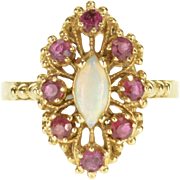 14K Opal* Ruby* Marquise Dot Trim Milgrain Cluster Ring Size 9 Yellow Gold