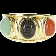 14K Onyx Carnelian Jadeite Scarab Cabochon Ring Size 7 Yellow Gold