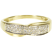 10K Diamond Encrusted Pave Two Tone Wedding Band Ring Size 7 Yellow Gold