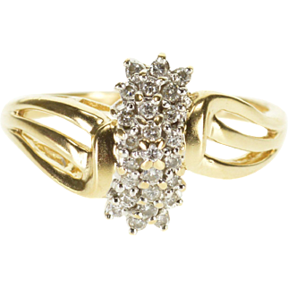14K Diamond Encrusted Cluster Wavy Curvy Design Ring Size 8.75 Yellow Gold
