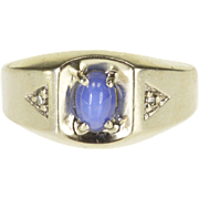 10K Star Sapphire* Oval Cabochon Diamond Accented Ring Size 7 White Gold