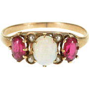 8K Victorian Opal* Ruby* Three Stone Oval Ring Size 6 Yellow Gold