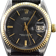Vintage Oyster Perpetual Rolex Date Stainless Gold Bezel Men's Watch