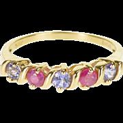 14K Ruby Tanzanite Wavy Five Stone Band Ring Size 7 Yellow Gold