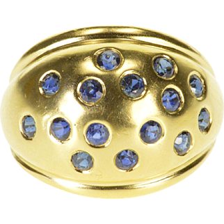 14K Sapphire Encrusted Flush Set Rounded Band Ring Size 6 Yellow Gold