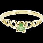 14K Green Round Cut Prong Set Heart Design Ring Size 3.5 Yellow Gold