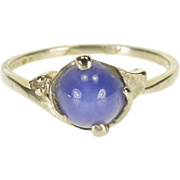 14K Star Sapphire* Diamond Accented Wavy Freeform Ring Size 5.75 White Gold