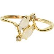 10K Marquise Opal* Diamond Accented Bypass Ring Size 6.5 Yellow Gold
