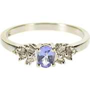 10K Tanzanite Diamond Accent Oval Prong Set Cluster Ring Size 7 White Gold