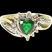 10K Emerald* Heart Diamond Starburst Halo Bypass Ring Size 7 Yellow Gold