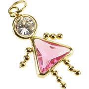 14K Birthstone Baby Girl Pink White Glass October Charm/Pendant Yellow Gold