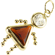 14K Garnet Cubic Zirconia Birthstone Baby January Charm/Pendant Yellow Gold