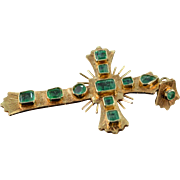 18K 2.25 Ctw Natural Colombian Emerald Cross Pendant Yellow Gold