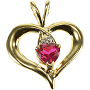 10K Ruby Diamond Heart Criss Cross Fancy Pendant Yellow Gold