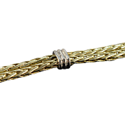 """14K Dual Woven Link Large Clasp Bracelet 7"""" Yellow Gold"""