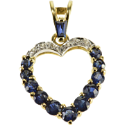 14K Sapphire* Diamond Encrusted Ornate Heart Pendant Yellow Gold