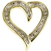 10K Diamond Channel Inset Wavy Curvy Heart Pendant Yellow Gold