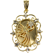 10K Diamond Accented Guardian Angel Scroll Trim Pendant Yellow Gold