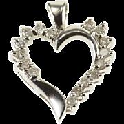 10K Diamond Inset Wavy Heart Cut Out Pendant White Gold