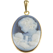 14K Blue Agate Carved Mother Child Cameo Pendant Yellow Gold  [QPQX]