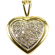 10K Diamond Encrusted Pave Two Tone Heart Pendant Yellow Gold  [QPQX]