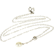 """14K Pearl Dangle Diamond Accented Cable Chain Necklace 16.75"""" White Gold"""