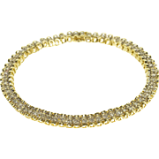 "14K Scalloped Rounded Link Diamond Inset Tennis Bracelet 7.25"" Yellow Gold"