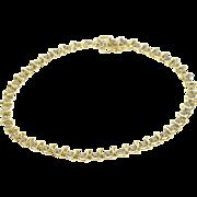 "10K Diamond Inset Wavy Bar Link Tennis Bracelet 7.25"" Yellow Gold"