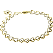 """10K Two Tone Textured Heart Link Chain Bracelet 7"""" Yellow Gold"""