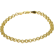 "14K Layered Round Link Fancy Chain Bracelet 7.25"" Yellow Gold"
