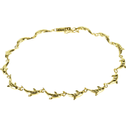 """14K High Relief Dolphin Textured Link Bracelet 7.5"""" Yellow Gold"""