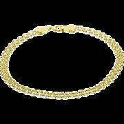 """14K Doubled Rolo Link Fancy Chain Bracelet 7"""" Yellow Gold"""