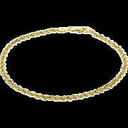 "14K Rope Link Fancy Chain Bracelet 7.25"" Yellow Gold  [QPQX]"